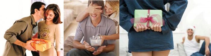 Жена дарит любимому мужу подарки