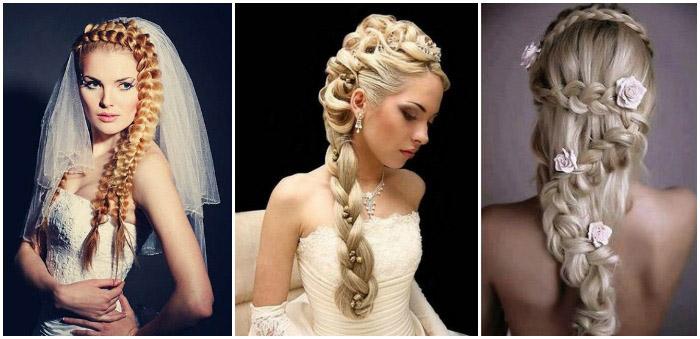Свадебные укладки с французской косой