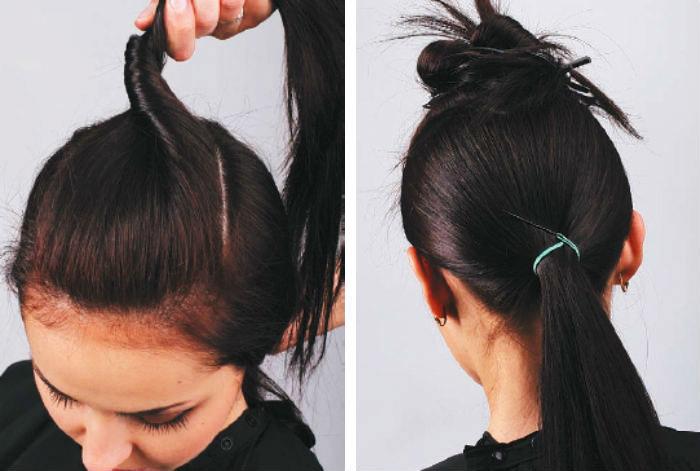 Разделяем волосы, завязываем хвост