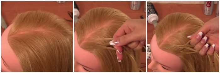 Разделяем волосы, начинаем плетение косы