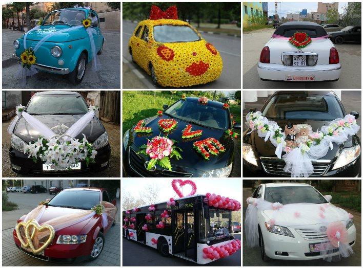 Красивые детали декора авто на свадьбу