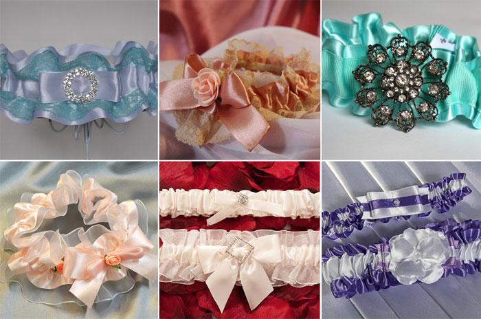 Атласные подвязки для невесты