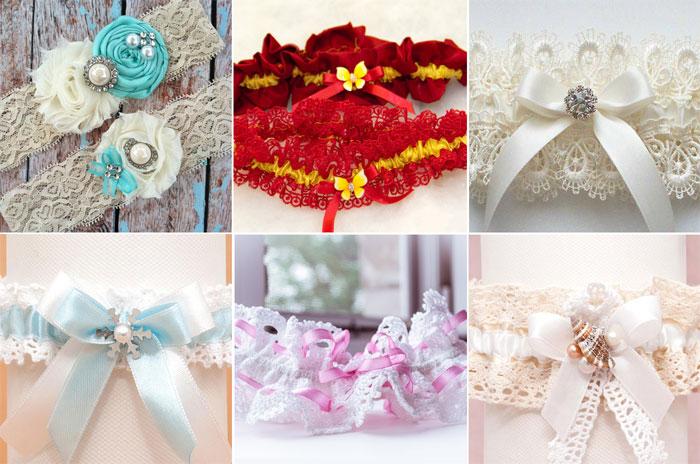 Вязаные подвенечные подвязки для невест