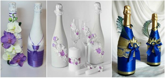 Свадебные аксессуары 2017: украшение для шампанского