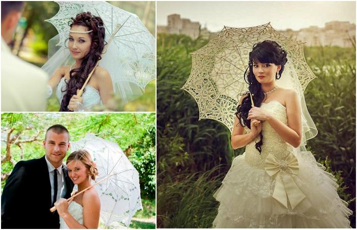 Свадебные аксессуары 2017: зонтик
