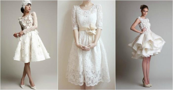 Короткие платья с кружевом для невесты