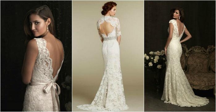 платья фото спиной открытой свадебные с ажурные