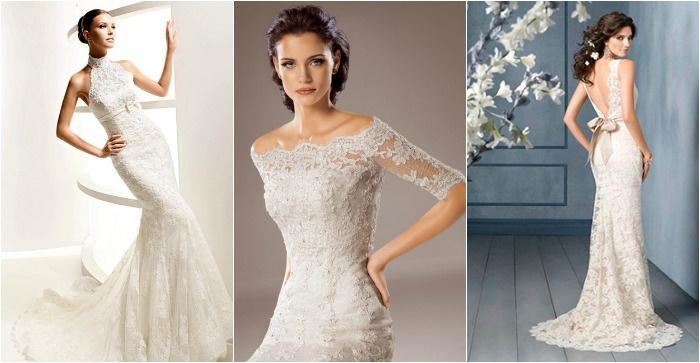 Кружевные зауженные свадебные платья 2017