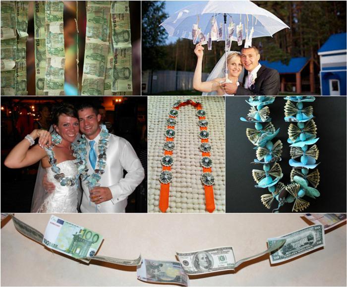 Красивая денежная гирлянда на свадьбу