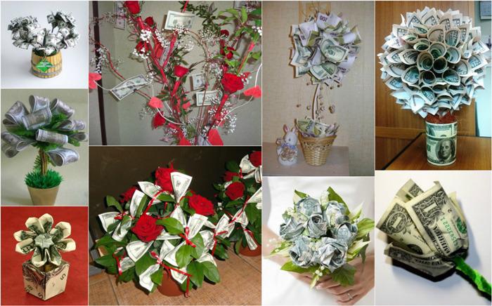 Варианты денежных цветов для свадебного подарка