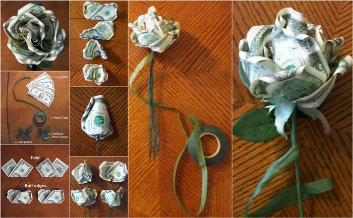 Как сделать денежный цветок для свадебного подарка