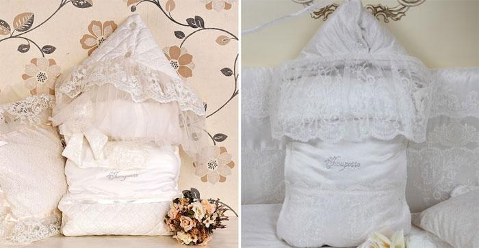 Конверт для новорожденного из свадебного платья