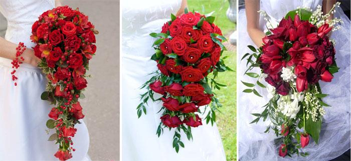 Красный каскадный свадебный букет
