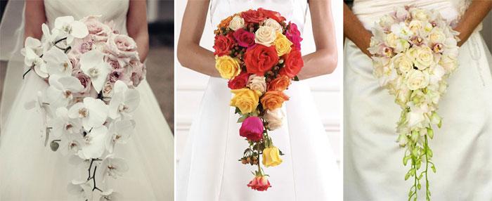 Каскадная форма композиции свадебных цветов