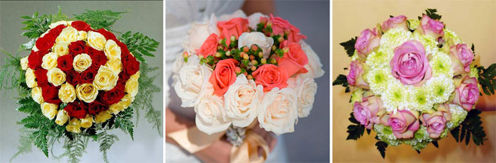 Свадебные цветы в форме бидермейера