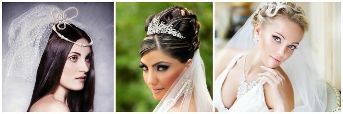 Фото: прически невесты на средние волосы с фатой