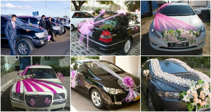 Украшение свадебного автомобиля тканью по всей длине