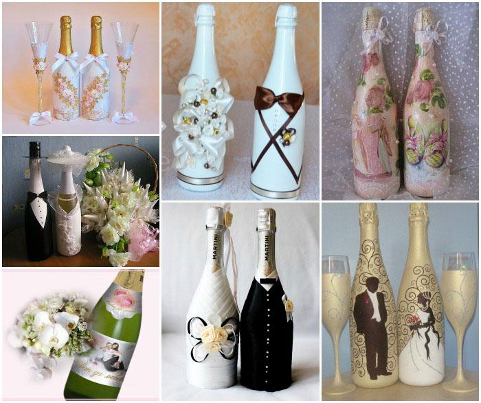 Свадебное шампанское своими руками лентами 7