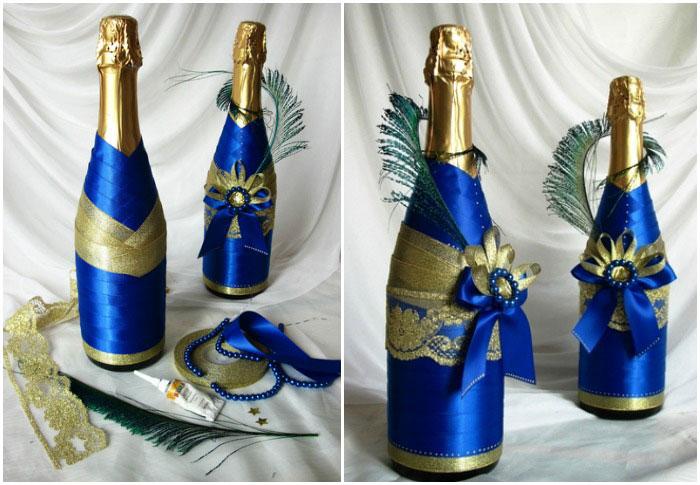 Свадебное шампанское своими руками лентами 757