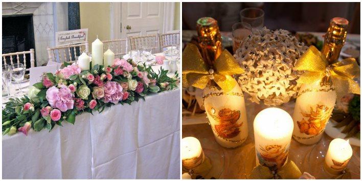 Свечи для декора свадебного стола молодоженов