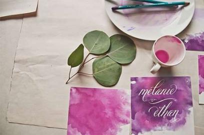 Акварельные пригласительные на свадьбу