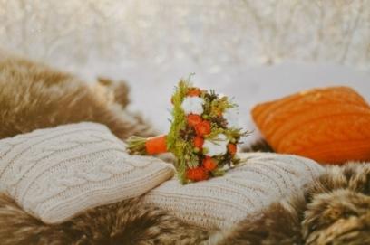 Оранжевый свадебный букет