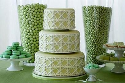 Торт на свадьбу в зеленых тонах